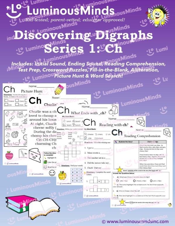 Discovering Digraphs Series 1: Ch Bundle With 5 Worksheet Examples On Front