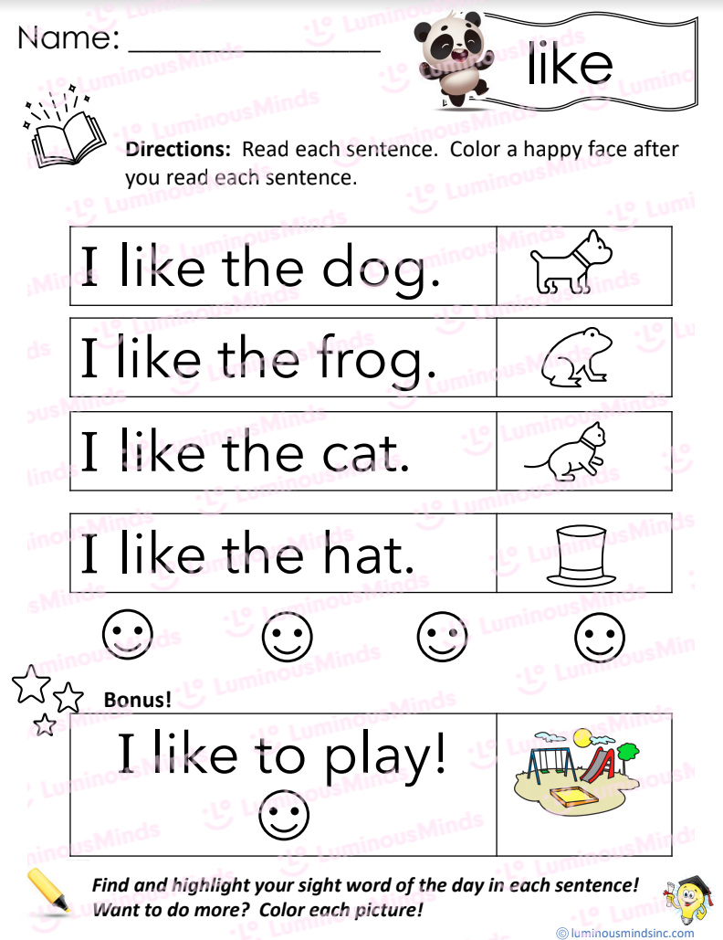 Reading With Sight Word Like With Like In Upper Right Next To A Happy Dancing Panda