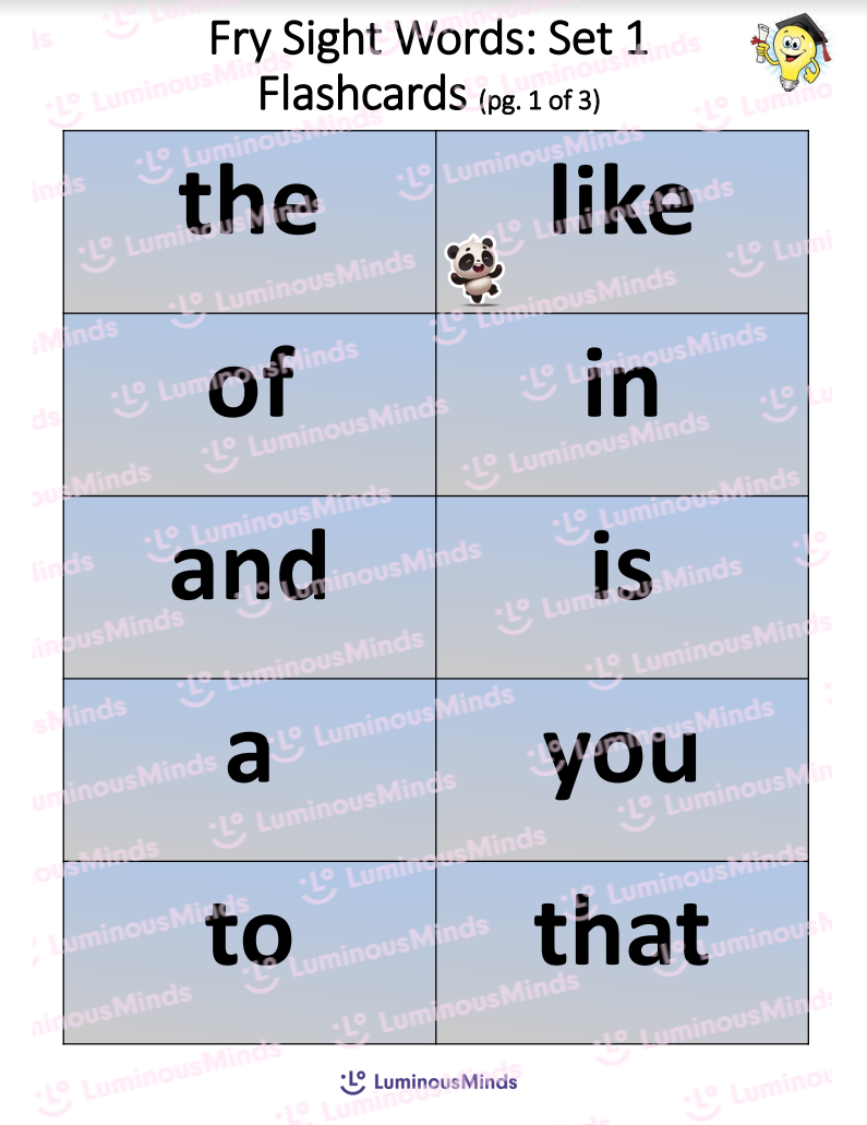 Fry Sight Words Set 1 Flashcards With Panda And Lightbulb In Upper Right Corner