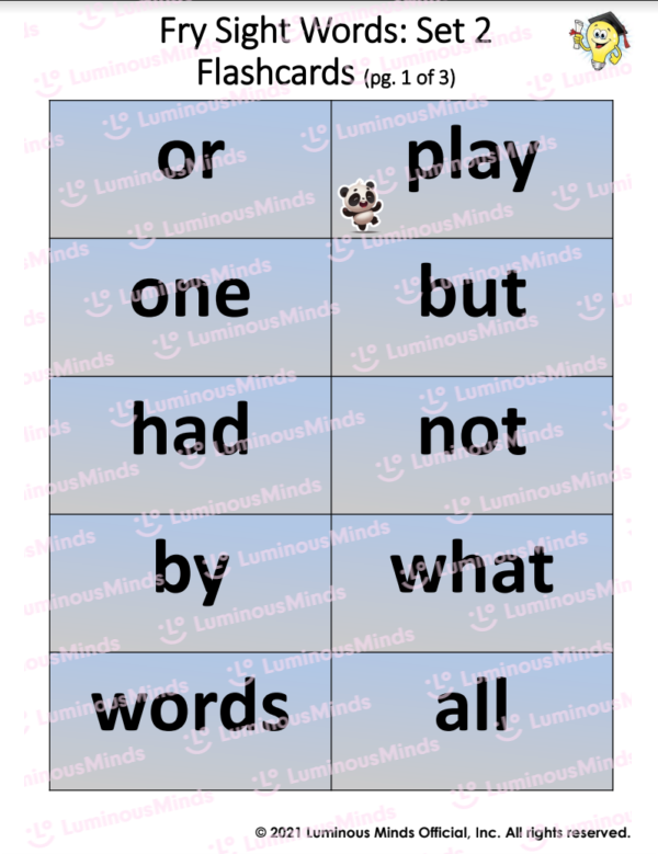 Fry Sight Words Set 2 Flashcards page 1 Of 3 With Panda And Lightbulb