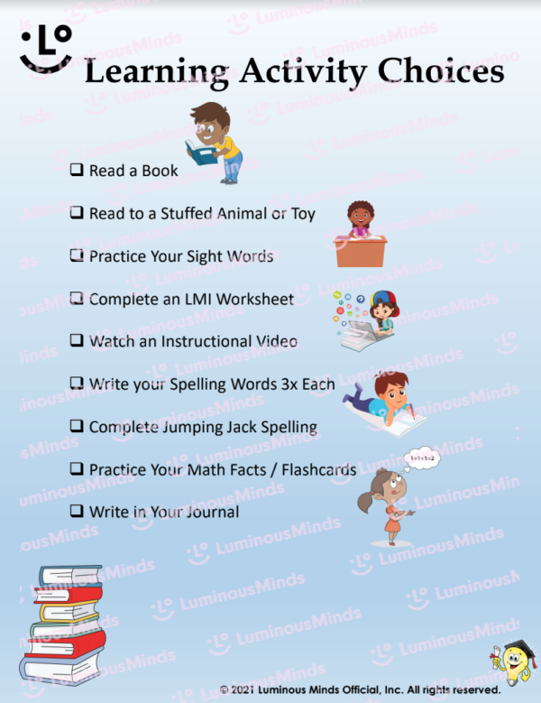Learning Activity Choices With Multiple Check Boxes And Children Reading With Books At Bottom Left