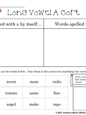 Long Vowel A Sort Worksheet With Capital And Lower Case A In Top Right Corner
