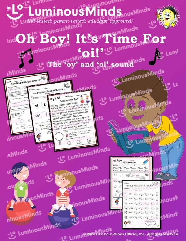 Oh Boy! Its Time For 'oi!' Worksheet With Boy Reading Worksheets And Two Kids Bouncing While Smiling
