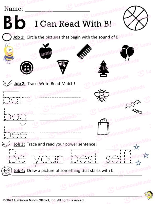 Bb I Can Read With B! Worksheet With Bumble Bee On Left Side And Basketball On Upper Right