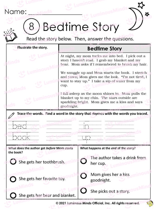 Bedtime Story Worksheet With Moon And Stars In Upper Right