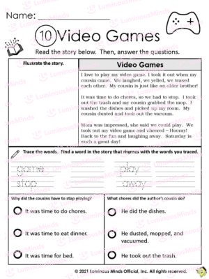 Video Games Worksheet With Name On Top And Video Game Controller On Top Right