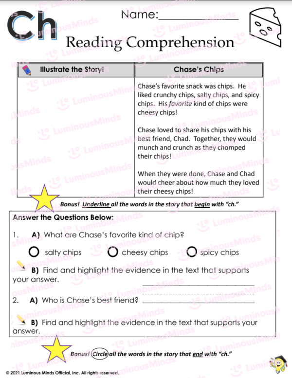 Reading Comprehension With Ch Worksheet