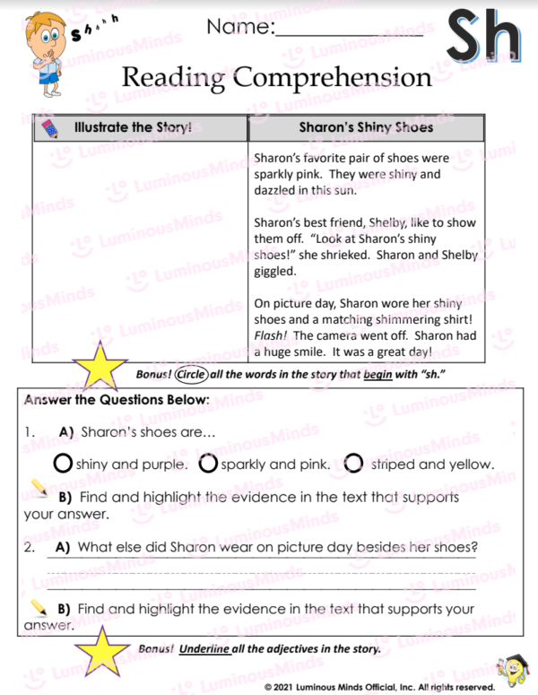 Reading Comprehension With Sh Worksheet With Sh In Upper Right Corner