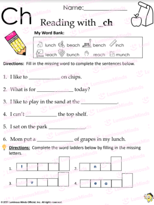 Reading With _ch Worksheet