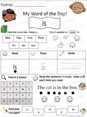 My Word Of The Day Is Worksheet With Two Smiling Kids On The Top And Worksheet Problems On The Rest Of The Worksheet