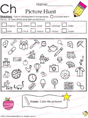 The Ch Picture Hunt Worksheet