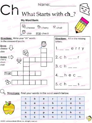 What Starts With Ch_? Worksheet With Ch In Upper Left And Cheese In Upper Right