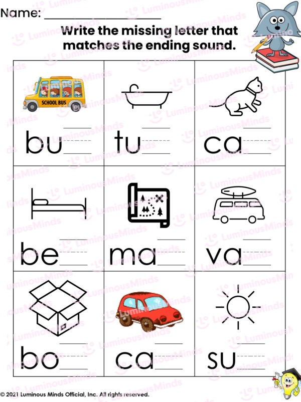 Luminous Minds Ending Sound Worksheet 1 Nine Squares On Worksheet With Different Ending Letters Matched Up With Icon Images To Make It Easier To Sound Out For Learners