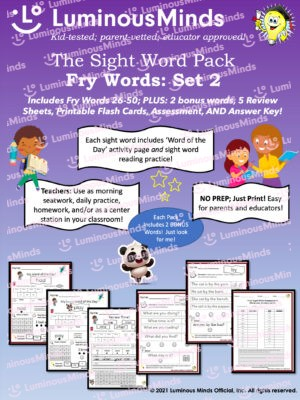 Luminous Minds The Sight Word Pack Fry Words Set 2 Includes Fry Words 26-50 Plus 2 Bonus Words 5 Review Sheets Printable Flash Cards Assessment And Answer Key With Examples Of Worksheets On The Bottom And Parents And Children Smiling And Reading With Purple Background