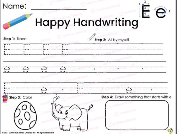 Luminous Minds Happy Handwriting E Worksheet With Large Lines For Children And Students To Trace Uppercase And Lowercase Letter E With Color Section On Bottom