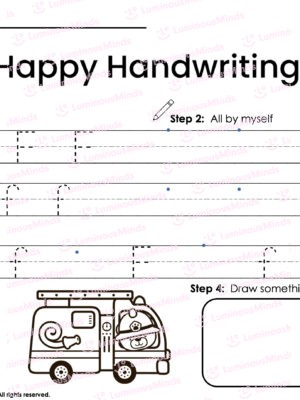 Luminous Minds Happy Handwriting F Worksheet With Lines Open For Children And Students To Trace The Uppercase And Lowercase F With A Section To Color At The Bottom