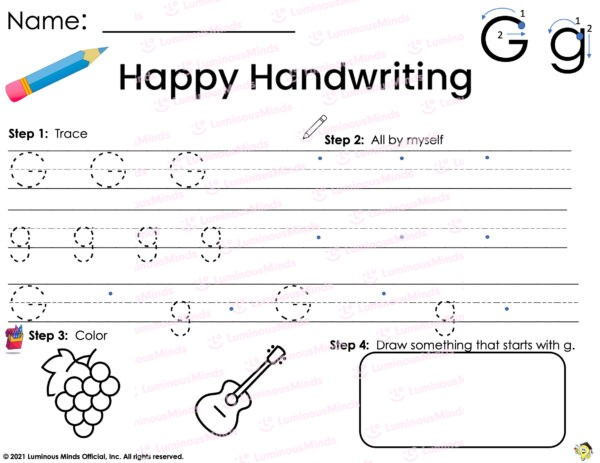 Luminous Minds Handwriting G Worksheet With Lines To Trace Uppercase And Lowercase G With Color Section Meant For Children and Students To Fill Out