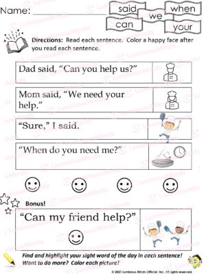 Luminous Minds Reading Review 8 Worksheet For Kids To Learn How To Say Said, Can, We, When, Your With Five Sayings To Left And Icon Matching Up To The Right
