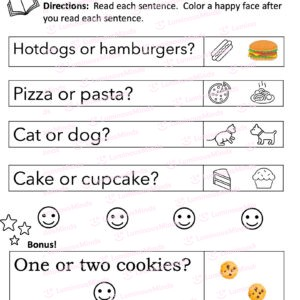 Luminous Minds The Sight Word Pack Fry Words For Kids To Learn With Five Sections With Or Questions Related To Food And Icon Of Food For Kids To Read