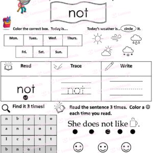 Luminous Minds The Sight Word Pack Fry Words Set 2 Worksheet For The Word Not And Sections For Kids To Write On And Interact With Including Todays Weather And Days Of Week