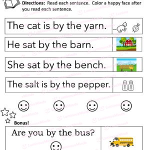 Luminous Minds The Sight Word Pack Fry Words Set 2 Worksheet For By Words With Five Section Sentences With The Word By And Icons Describing Each Sentence